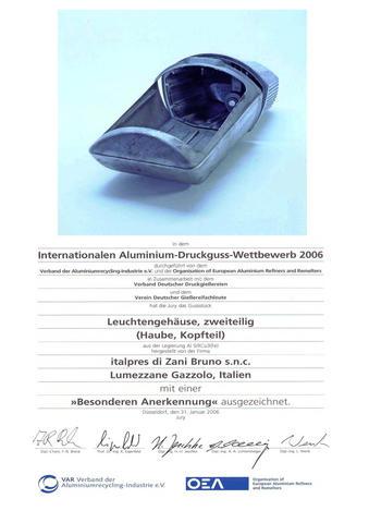 """Premio """"V.A.R. Verband Der Aluminiumrecycling-Industrie e.V."""" edizione 2006"""